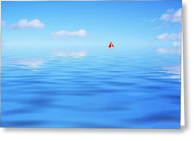 Boats On Water Digital Greeting Cards - Enternal Journey Greeting Card by P Donovan