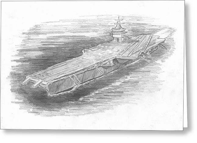 Enterprise Drawings Greeting Cards - Enterprise Aircraft Carrier Greeting Card by Michael Penny