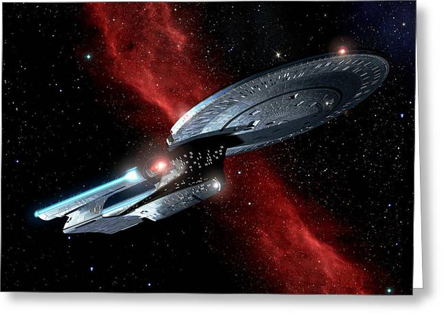 Enterprise Digital Art Greeting Cards - Enterprise Crossing The Nebula Greeting Card by Joseph Soiza
