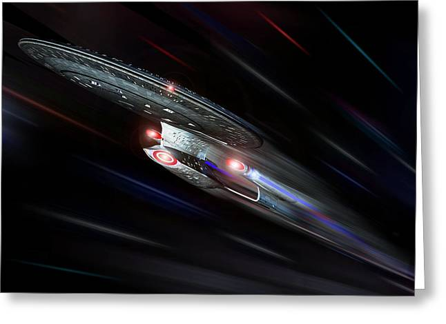 Enterprise Digital Art Greeting Cards - Enterprise D At Warp Greeting Card by Joseph Soiza