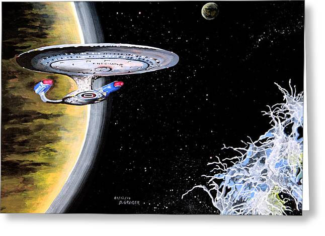 Enterprise D Greeting Cards - Enterprise Greeting Card by Judith Groeger