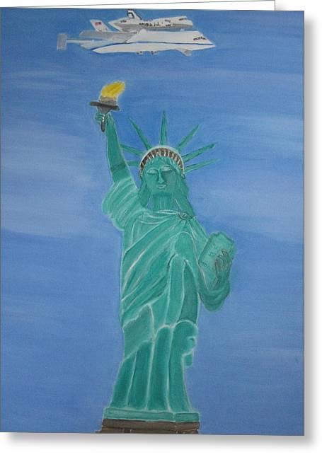 Best Sellers -  - Enterprise Paintings Greeting Cards - Enterprise on Statue of Liberty Greeting Card by Vandna Mehta