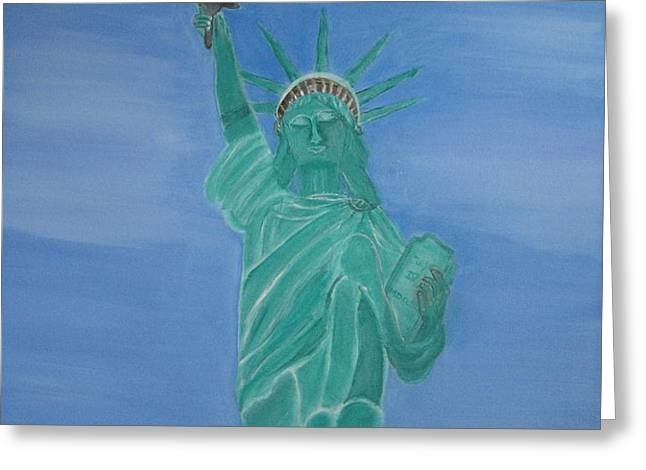 Enterprise on Statue of Liberty Greeting Card by Vandna Mehta