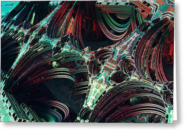 Enterprise Digital Art Greeting Cards - Enterprise Pattern Fractal Greeting Card by Eros Marcuz