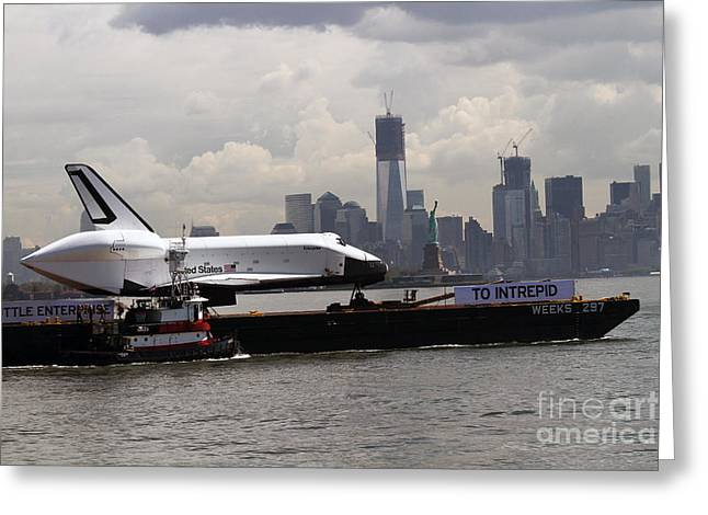 Enterprise To The Intrepid Air And Space Museum Greeting Card by Steven Spak