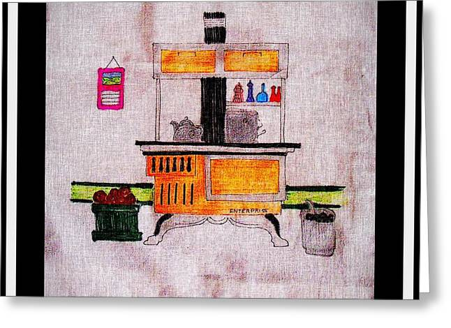 Enterprise Drawings Greeting Cards - Enterprise Woodstove - Yellow Greeting Card by Barbara Griffin