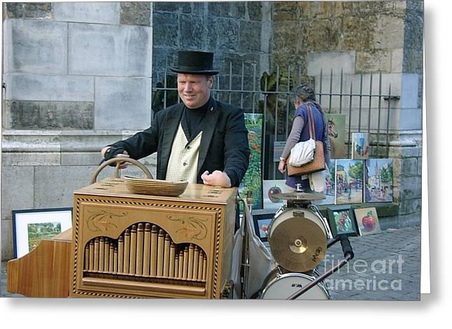 Urban Images Greeting Cards - Street Musician in Aachen Germany Greeting Card by Anthony Morretta