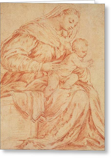 Renaissance Pastels Greeting Cards - Enthroned Madonna and Child Greeting Card by Jacopo Bassano