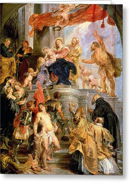 Jesus With Children Greeting Cards - Enthroned Madonna with Child Encircled by Saints Greeting Card by Rubens