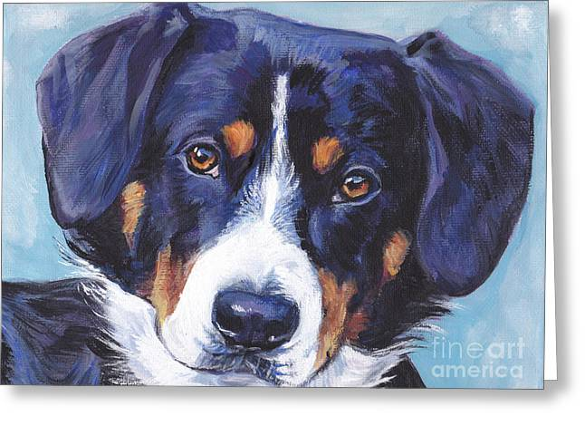 Swiss Paintings Greeting Cards - Entlebucher Mountain Dog Greeting Card by Lee Ann Shepard