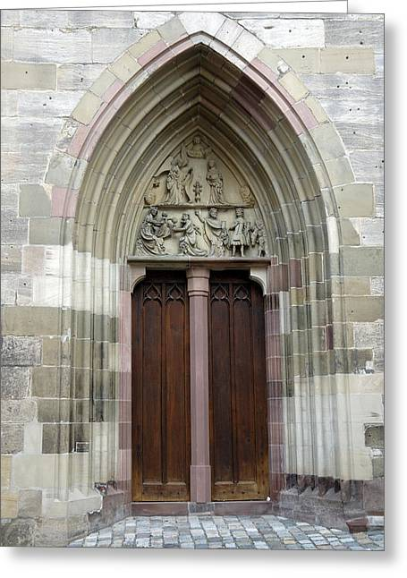 Entrance Door Church Greeting Card by Matthias Hauser