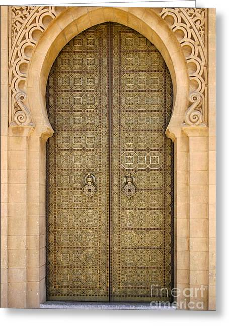 Northern Africa Greeting Cards - Entrance Door to the Mausoleum Mohammed V Rabat Morocco Greeting Card by Ralph A  Ledergerber-Photography