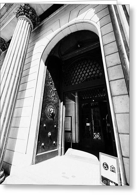 Entrance Doors To The Bank Of England Headquarters Threadneedle Street London England Uk Greeting Card by Joe Fox