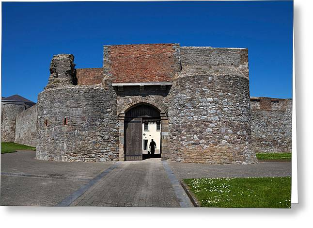 Dog Walking Greeting Cards - Entrance Gate, King Johns Castle Greeting Card by Panoramic Images