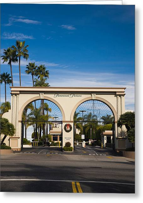 Western Script Greeting Cards - Entrance Gate To A Studio, Paramount Greeting Card by Panoramic Images