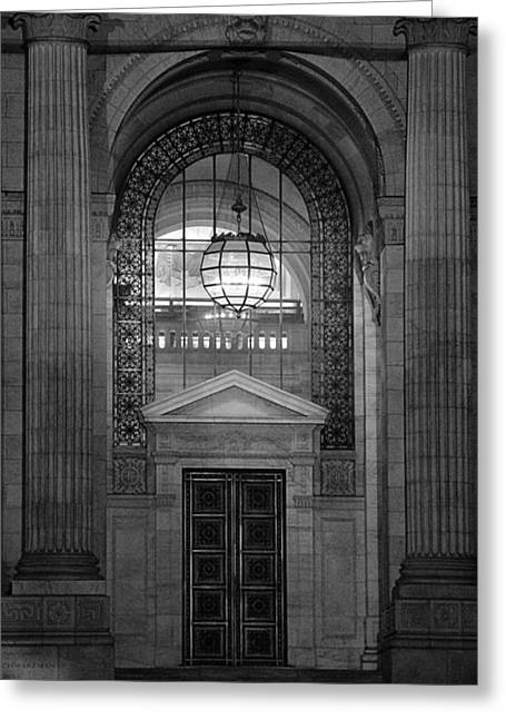 College Avenue Greeting Cards - Entrance In Black And White Greeting Card by Dan Sproul