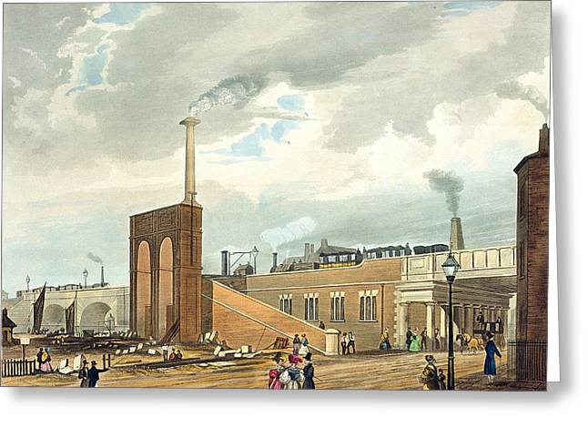 Railway Locomotive Greeting Cards - Entrance Into Manchester Across Water Greeting Card by Thomas Talbot Bury