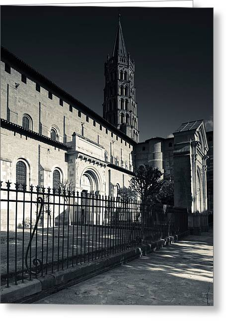 Midi Greeting Cards - Entrance Of The Basilica Of St. Sernin Greeting Card by Panoramic Images