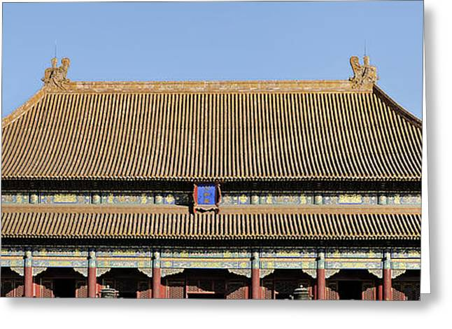 Historic Site Greeting Cards - Entrance Pagoda to the Forbidden City - Beijing China Greeting Card by Brendan Reals