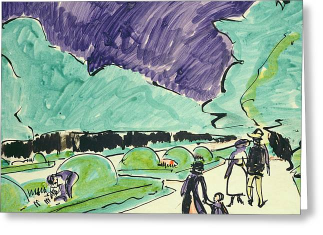Abstract Expressionist Greeting Cards - Entrance to a large garden in Dresden Greeting Card by Ernst Ludwig Kirchner