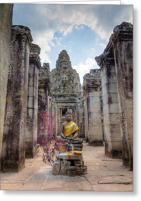 Ancient Ruins Greeting Cards - Entrance to Bayon Temple Greeting Card by Alexey Stiop