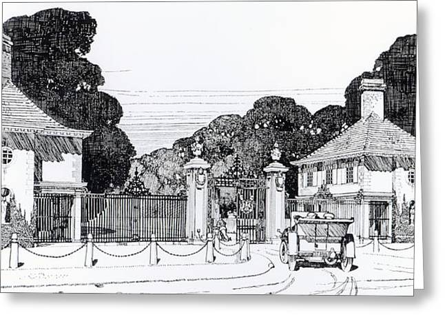 Garden Drawings Greeting Cards - Entrance to Brooklandwood Greeting Card by Thomas Hayton Mawson