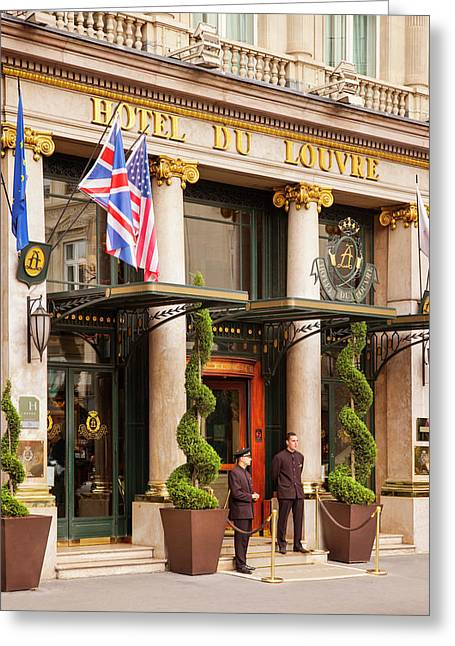 Entrance To Hotel Du Louvre, Paris Greeting Card by Brian Jannsen