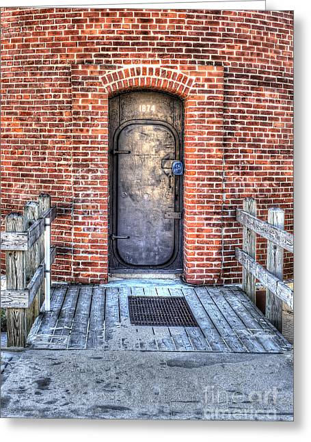 Entrance Door Greeting Cards - Entrance to Little Sable Lighthouse Greeting Card by Twenty Two North Photography