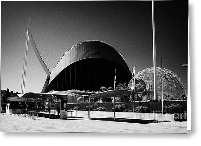 City Art Greeting Cards - Entrance To Loceanografic City Of Arts And Sciences Ciutat De Les Arts I Les Ciencies Valencia Spai Greeting Card by Joe Fox