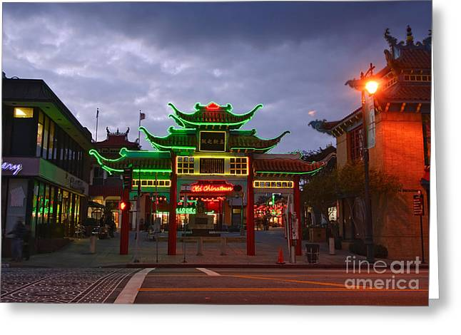 City Art Greeting Cards - Entrance to Los Angeles Chinatown at night with neon lights. Greeting Card by Jamie Pham