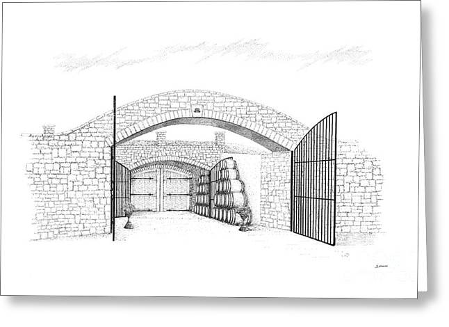 Entrance Door Drawings Greeting Cards - Entrance to Megalomaniac Winery Greeting Card by Steve Knapp