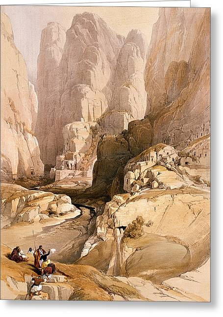 Jordan Hill Greeting Cards - Entrance to Petra Greeting Card by David Roberts