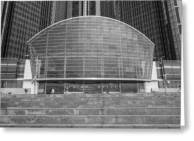 Renaissance Center Greeting Cards - Entrance to Renaissance Center in Black and White  Greeting Card by John McGraw
