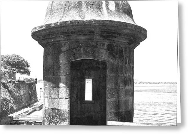 Entrance to Sentry Tower Castillo San Felipe Del Morro Fortress San Juan Puerto Rico BW Film Grain Greeting Card by Shawn O'Brien