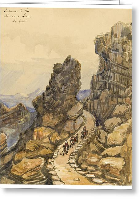 Rocks Drawings Greeting Cards - Entrance to the Almanna Gau Circa 1862 Greeting Card by Aged Pixel
