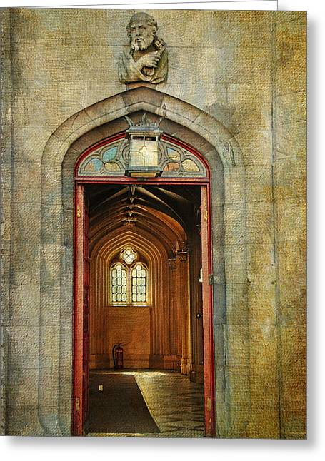 Royal Chapel Greeting Cards - Entrance to the Gothic Revival Chapel. Streets of Dublin. Painting Collection Greeting Card by Jenny Rainbow