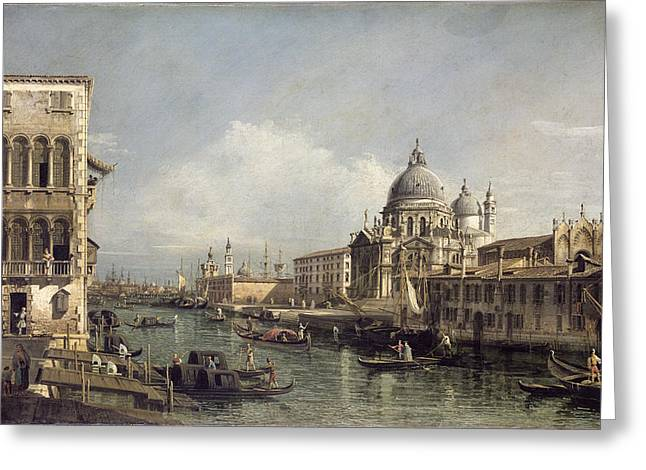 Venetian Architecture Greeting Cards - Entrance To The Grand Canal, Venice Greeting Card by Bernardo Bellotto