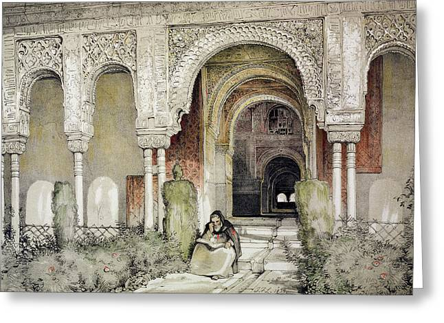 Path Drawings Greeting Cards - Entrance To The Hall Of The Two Sisters Greeting Card by John Frederick Lewis