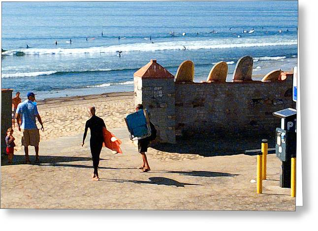 Surfing Photos Digital Art Greeting Cards - Entrance to the Lineup Greeting Card by Ron Regalado