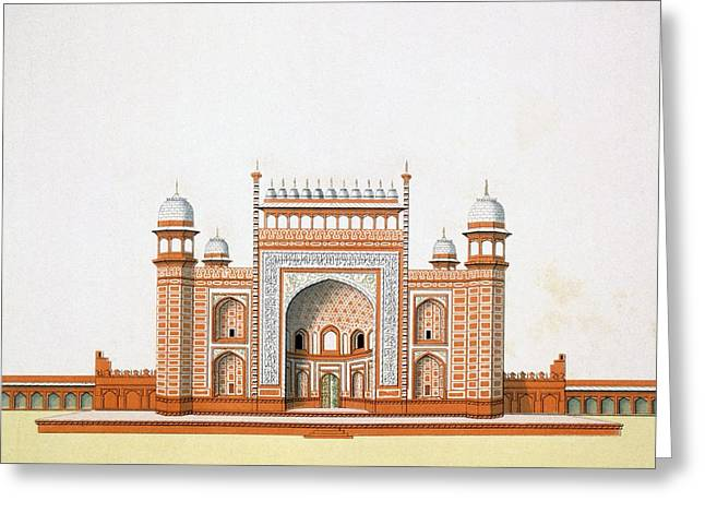 Portal Drawings Greeting Cards - Entrance To The Taj Mahal Greeting Card by German School