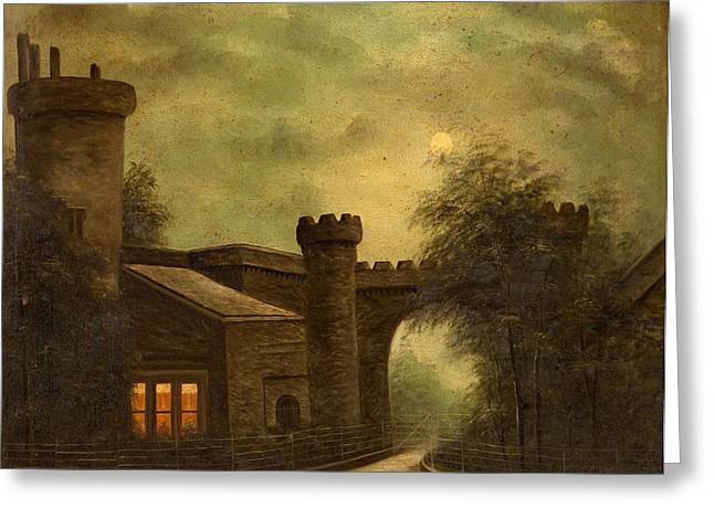 Moonlit Night Greeting Cards - Entrance To Towneley Park, By Moonlight Greeting Card by English School