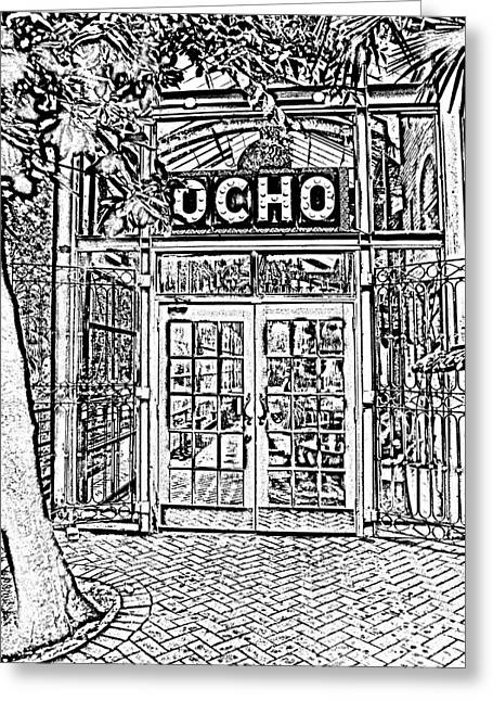 Photocopy Greeting Cards - Entrance to Trendy OCHO Restaurant in San Antonio Texas Black and White Digital Art Greeting Card by Shawn O