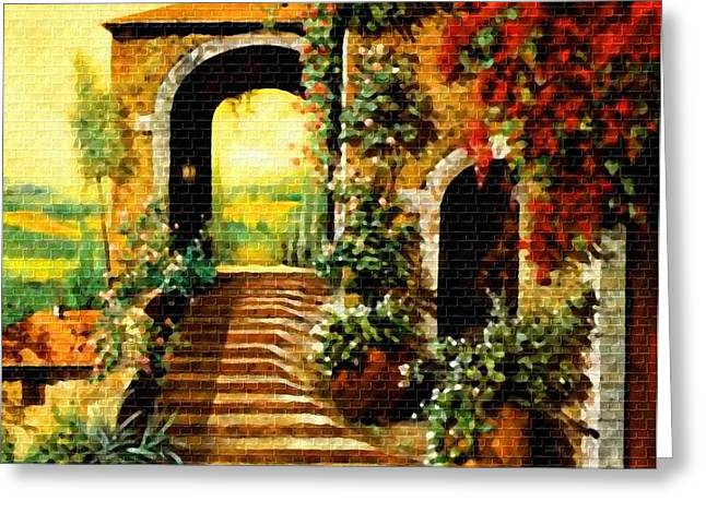Cellphone Pastels Greeting Cards - Entrance to Villa Valesquess H b Greeting Card by Gert J Rheeders