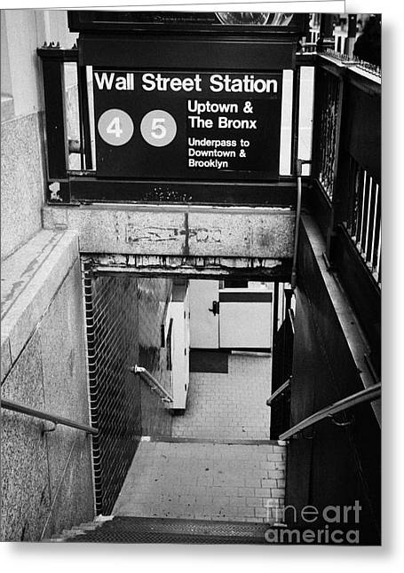 Manhaten Greeting Cards - Entrance to wall street subway station new york city Greeting Card by Joe Fox