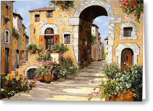 Landscape. Scenic Paintings Greeting Cards - Entrata Al Borgo Greeting Card by Guido Borelli