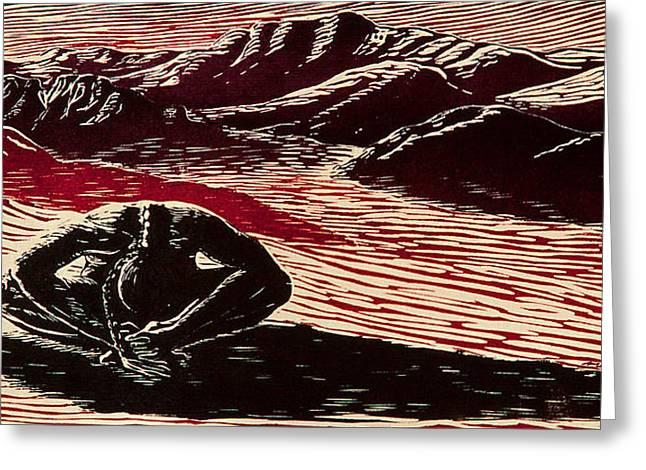 Desert Reliefs Greeting Cards - Entre Viento y Sol Greeting Card by Maria Arango