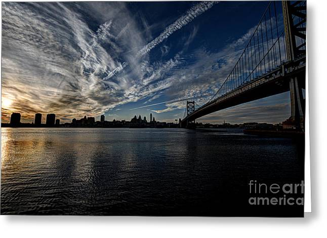 Williams Dam Greeting Cards - Entropy - Philly Skyline and the Ben Franklin Bridge Greeting Card by Mark Ayzenberg