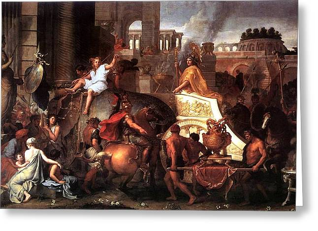 Babylon Paintings Greeting Cards - Entry of Alexander  Greeting Card by Charles LeBrun