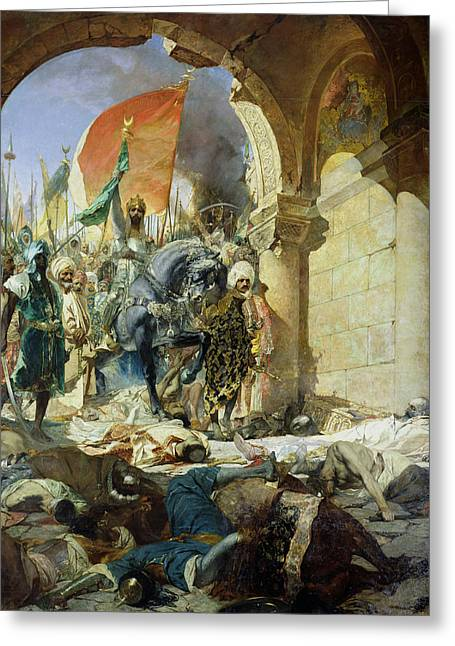 Entry Of The Turks Of Mohammed II Into Constantinople Greeting Card by Benjamin Constant