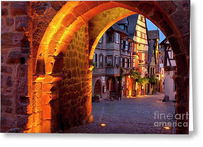 Route Des Vins Greeting Cards - Entry to Riquewihr Greeting Card by Brian Jannsen
